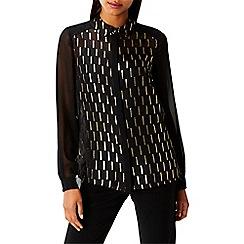 Coast - Black metallic burnout print 'Taci' blouse