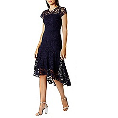 Coast - Navy lace 'Candice' round neck long sleeved midi shift dress