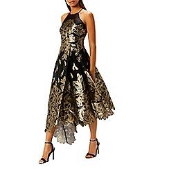 Coast - Gold jacquard print 'Leaf' high neck fit and flare dress