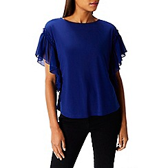 Coast - Cobalt 'Delphine' round neck short sleeved frill top