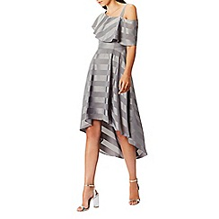Coast - Silver soft 'Elspeth' asymmetric neck short sleeve high low cold shoulder dress