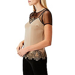 Coast - Natural lace 'Nia' high neck short sleeved blouse