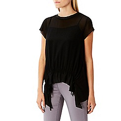 Coast - Black 'Ariel' short sleeved frill t-shirt top