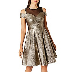 Coast - Gold metallic cotton blend 'jiana' bardot fit & flare dress