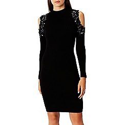 Coast - Black embellished knit 'Fallon' high neck long sleeves knee length cold shoulder dress
