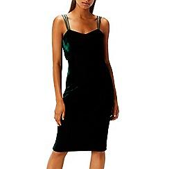 Coast - Green velvet 'Scarlett' sweetheart neck knee length shift dress