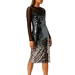 Coast - Multi ombre mesh sequin 'Gisella' round neck long sleeve midi dress