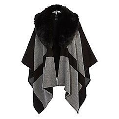 Coast - Multi-coloured check faux fur collar 'Carrie' cape