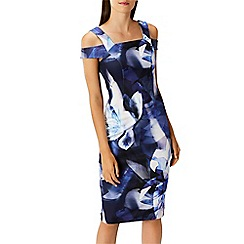 Coast - Multi floral print scuba 'idole' bardot cold shoulder knee length shift dress