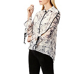 Coast - Multi marble print 'Maeve' collared neck blouse top