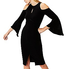 Coast - Black 'Celestine' high neck cold shoulder dress