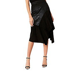Coast - Black 'Nella' asymmetric knee length skater skirt