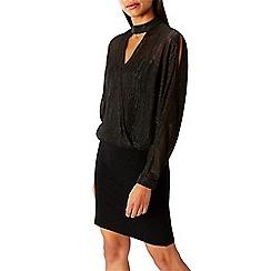 Coast - Black shimmer 'Elise' choker neck long sleeved knee length cold shoulder dress