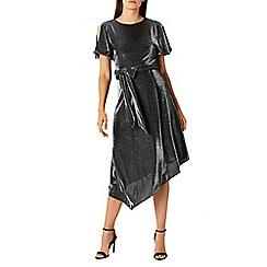 Coast - Debenhams Exclusive- Silver metallic sparkle jersey 'Jemma' cold shoulder dress