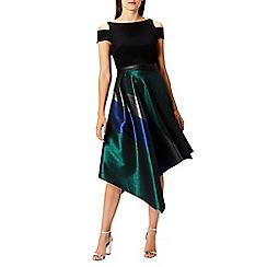Coast - Debenhams Exclusive - Multi metallic stripe 'Fran' round neck short sleeve cold shoulder dress
