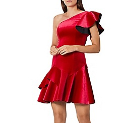 Coast - Red velvet 'Madalina' asymmetric neck ruffle shoulder short a line dress