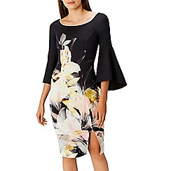 Coast - Debenhams Exclusive - Multicoloured floral print 'Luna' bell sleeves shift dress