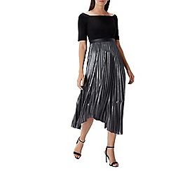 Coast - Debenhams Exclusive - Silver metallic 'Aida' square neck 3/4 sleeved pleated fit & flare dress