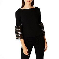 Coast - Black cotton blend 'Keji' square neck stripe sleeve top