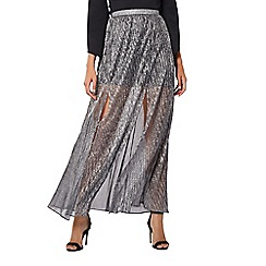Coast - Silver metallic 'Brean' full length maxi skirt