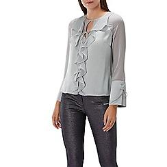 Coast - Silver ruffle 'Alicia' tie neck long sleeved blouse top
