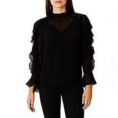 Coast - Black ruffle 'Sol' high neck long sleeved top