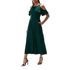 Coast - Forest 'Krissi' round neck short sleeved cold shoulder wide leg culottes jumpsuit
