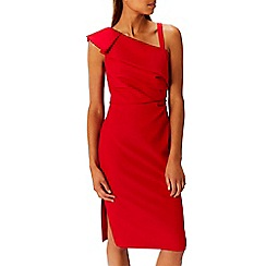 Coast - Debenhams Exclusive - Red ruffle 'Ella' asymmetric neck shift dress