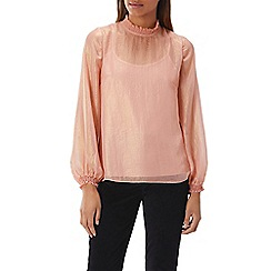 Coast - Pink metallic 'Milani' high neck long sleeved blouse