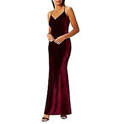 Coast - Maroon velvet 'Kayla' v-neck camisole maxi dress