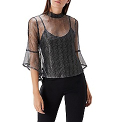 Coast - Gunmetal metallic lace 'Karli' high neck fluted bell sleeved top