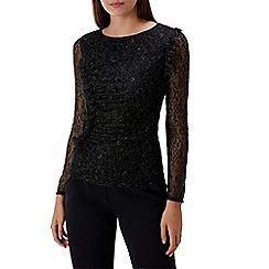 Coast - Black lace 'Elliot' round neck long sleeved top