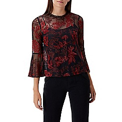 Coast - Red lace 'Emma' round neck flute sleeved top