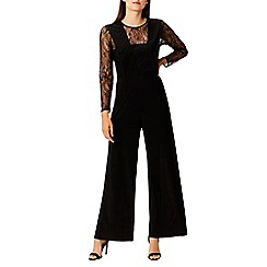 Coast - Black 'Chi' round neck long lace sleeved wide leg jumpsuit