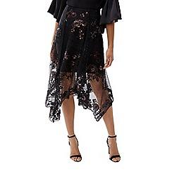 Coast - Black floral lace embroidered 'Ruth' asymmetric midi skirt