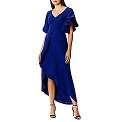 Coast - Blue frill 'Saph' v-neck short sleeved full length maxi dress