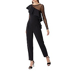 Coast - Black mesh frill 'Olly' round neck long sleeved jumpsuit