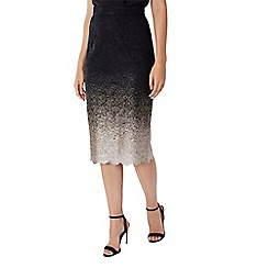Coast - Debenhams Exclusive - Black metallic ombre foiled 'Karla' knee length pencil skirt