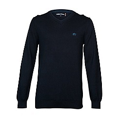 Raging Bull - V-Neck Cotton/Cashmere Sweater Navy