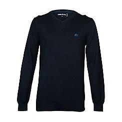 Raging Bull - V-Neck Cotton/Cashmere Sweater Navy