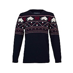 Raging Bull - Fair Isle Jumper Navy