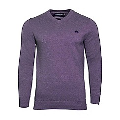 Raging Bull - Purple v-neck cotton and cashmere sweater