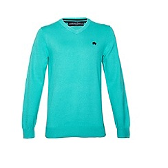 Raging Bull - V-Neck Cotton/Cashmere Sweater Turquoise