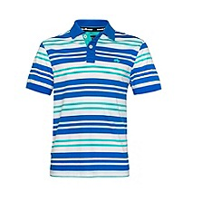 Raging Bull - Varied Stripe Jersey Polo Turquoise