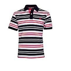Raging Bull - Varied Stripe Jersey Polo - Vivid Pink