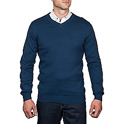 Raging Bull - V-Neck Cotton/Cashmere Sweater Denim