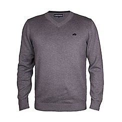 Raging Bull - V-Neck Cotton/Cashmere sweater-Dark Grey