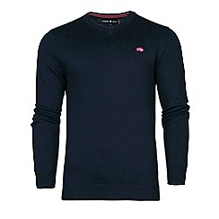 Raging Bull - V-Neck Cotton/Cashmere Sweater Big & Tall Navy