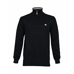 Raging Bull - KNITTED QUARTER ZIP - NAVY