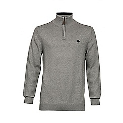 Raging Bull - KNITTED QUARTER ZIP - GREY MARL